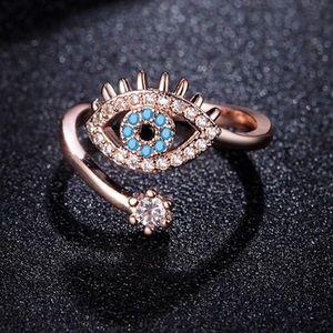 Evil Eye Adjustable Rose Gold Ring